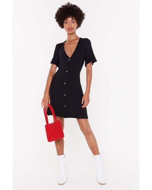 "Nasty Gal Black ""button It V-neck Mini Dress"""