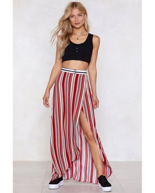 "Nasty Gal - Red ""stripe In Your Number Maxi Skirt"" - Lyst"