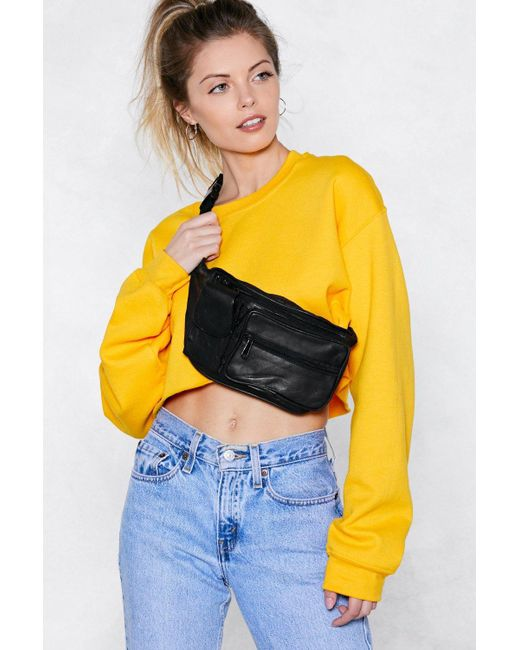 Nasty Gal - Black Want Bag It Leather Fanny Pack - Lyst