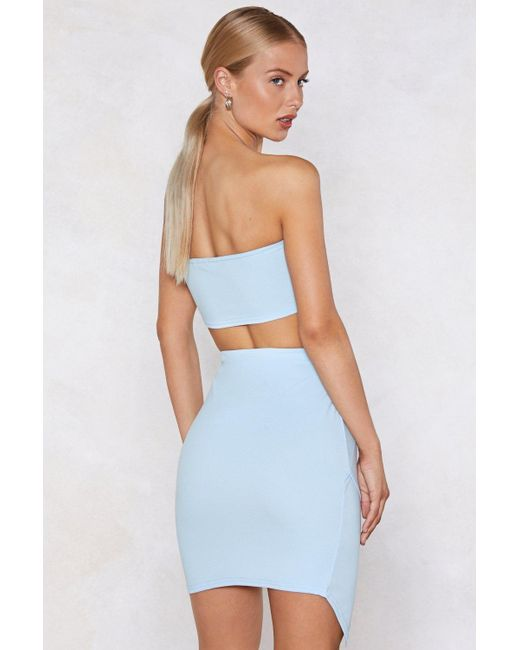 b289904a1f ... Nasty Gal - Blue Wrap Star Bandeau Top And Skirt Set - Lyst
