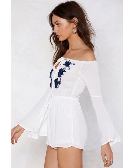 ff64697f3f2 ... Nasty Gal - White Rose And Conquer Off-the-shoulder Romper - Lyst ...