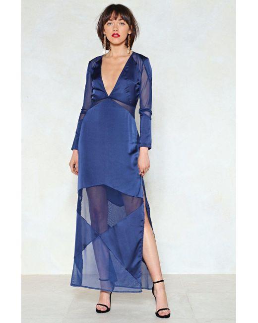 Nasty Gal - Blue I'm Back Maxi Dress - Lyst