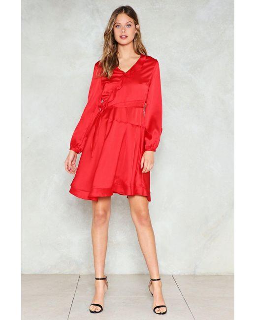 Nasty Gal - Red Satin Ruffle Dress Satin Ruffle Dress - Lyst