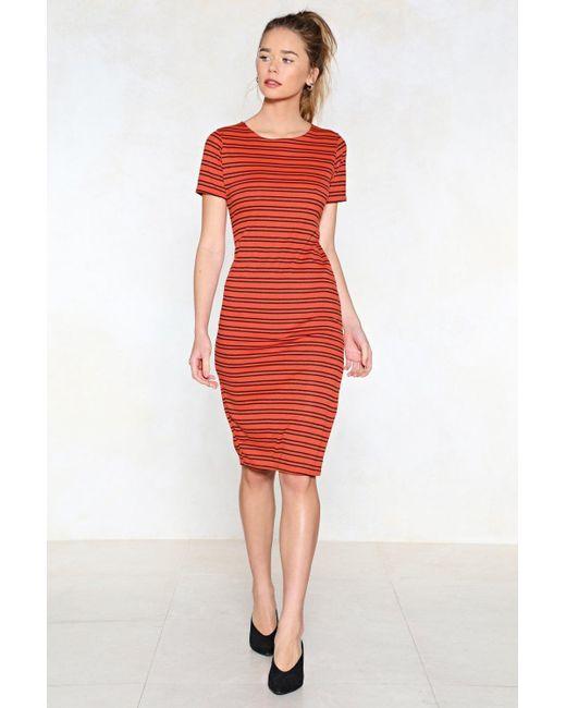Nasty Gal - Orange Split Your Sides Striped Dress - Lyst
