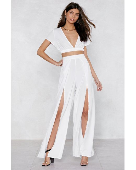 Nasty Gal - White Slit Or Miss Crop Top And Pants Set - Lyst