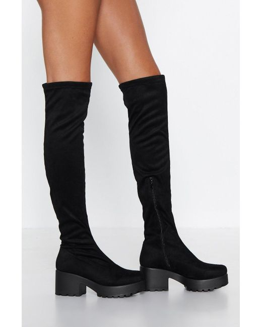 Nasty Gal - Black Get Over It Over-the-knee Boot - Lyst