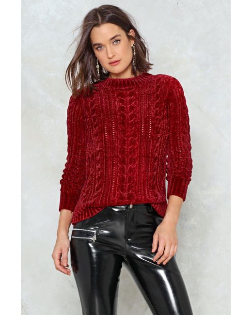 Nasty Gal - Red Live Wire Chenille Jumper - Lyst