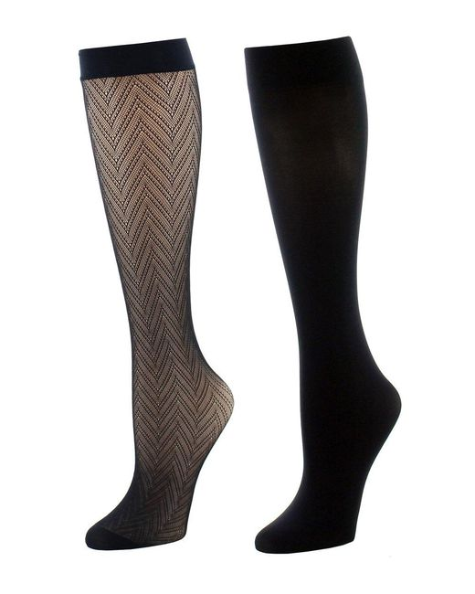 Natori - Black Chevron Net/solid 2 Pair Trouser Socks - Lyst