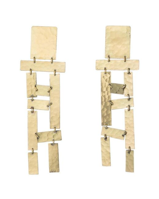 Natori | Metallic Josie Hammered Brass Long Fringe Earrings | Lyst