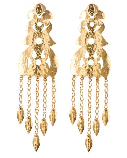Natori - Metallic Hammered Gold Long Earrings - Lyst