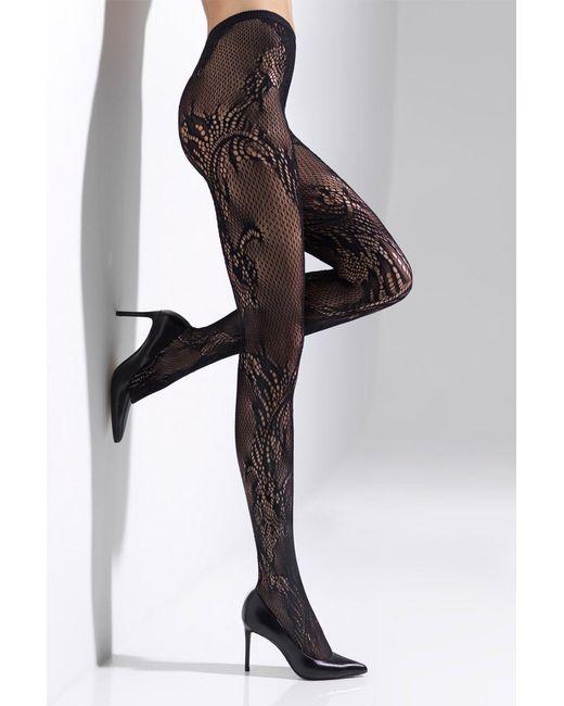 Natori - Black Feathers Lace Net Tights - Lyst