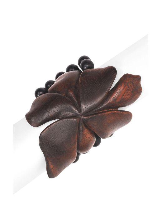 Natori | Natural Josie Acacia Wood Floral Bracelet | Lyst
