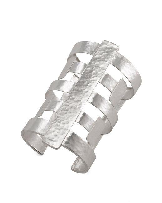 Natori | Metallic Silver Geo Cuff | Lyst