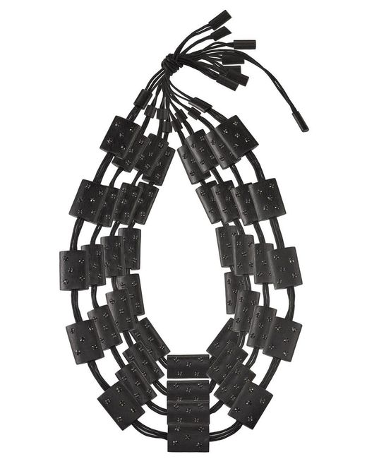 Natori - Josie Acacia Wood With Silver Four Layer Necklace Black O/s - Lyst