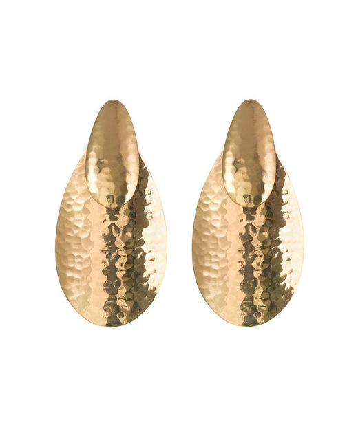 Natori | Metallic Hammered Gold Oval Earrings | Lyst