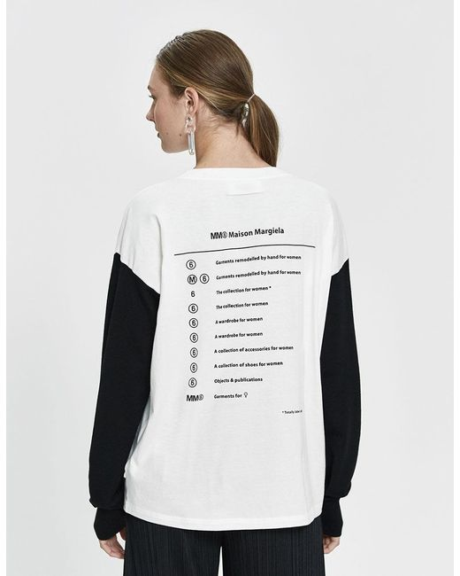 ab4e343be ... MM6 by Maison Martin Margiela - White Long Sleeve Half-knit Logo Tee -  Lyst ...