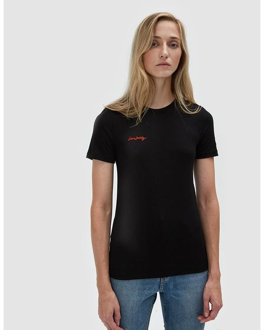 Ganni - Black Linfield Lyocell T-shirt With Embroidery - Lyst ...