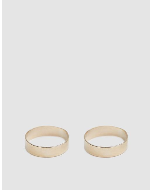 Loren Stewart - Metallic Set Of Two Gold Band Rings - Lyst