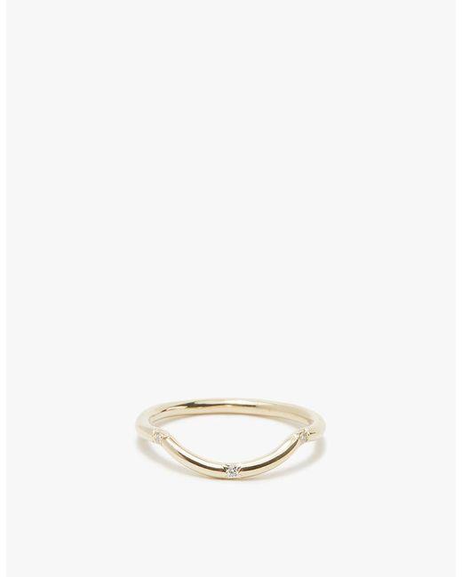 Mociun - Three Stones Ring In Mini Curved White Diamond - Lyst