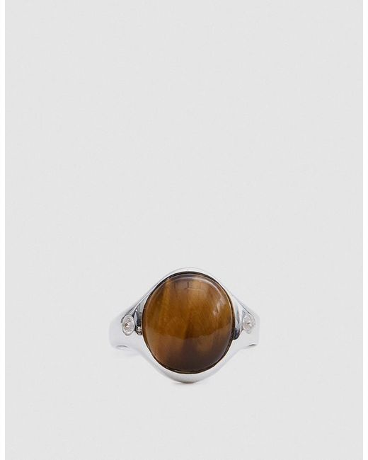 Pamela Love | Metallic Essential Ring In Sterling Silver With Tiger's Eye | Lyst