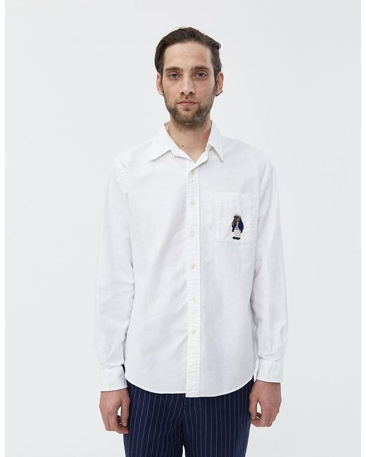 fd283df6 Polo Ralph Lauren - White Newport Bear Embroidery Oxford Button Down Shirt  for Men - Lyst ...