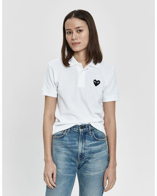 1a1ad060 COMME DES GARÇONS PLAY - White Play Black Heart Polo Shirt - Lyst ...