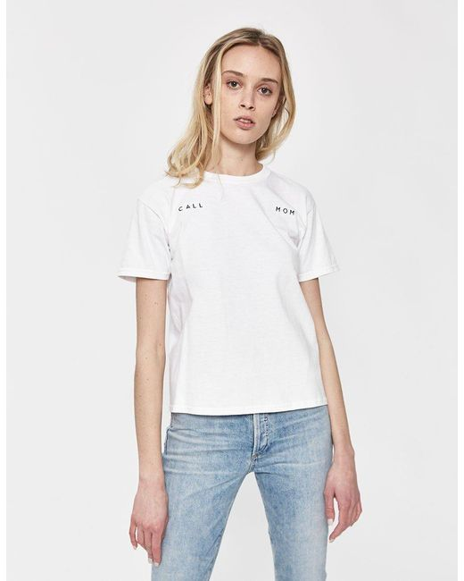 Collina Strada - White Call Mom Embroidered Tee - Lyst