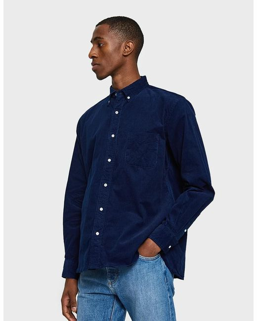 Lyst beams plus corduroy button down shirt in indigo in for Indigo button down shirt