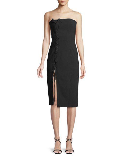 Cinq À Sept - Black Charlotte Strapless Lace-up Midi Dress - Lyst