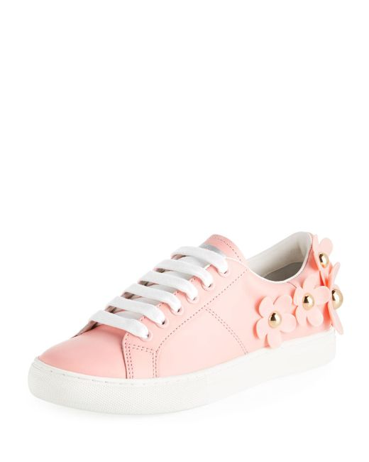 Marc Jacobs - Pink Daisy Stud-flower Leather Low-top Sneakers - Lyst