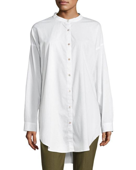 Eileen Fisher | White Mandarin-collar Stretch-lawn Button-front Shirt | Lyst