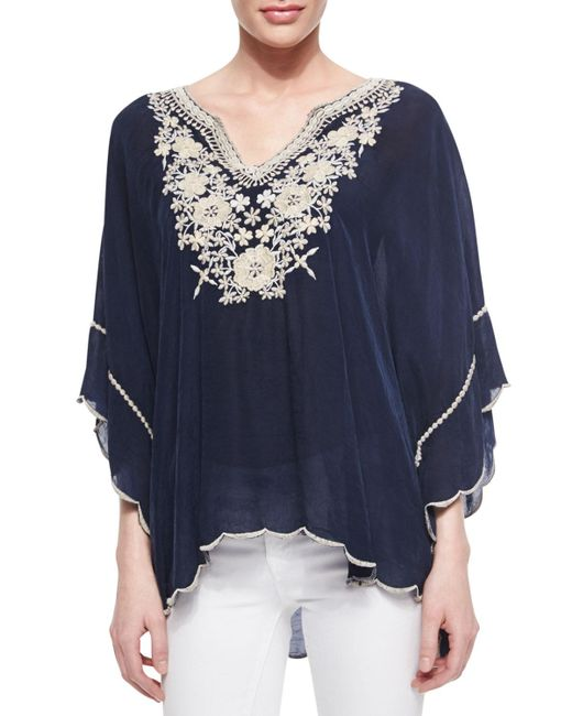 Johnny Was - Blue Embroidered Georgette Poncho Tunic - Lyst