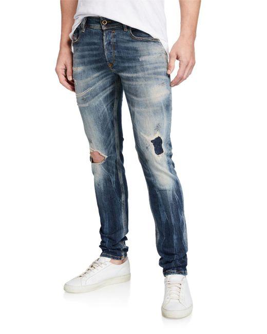 c5d98372271664 DIESEL Men's Sleenker Skinny Ripped-knee Jeans in Blue for Men - Lyst