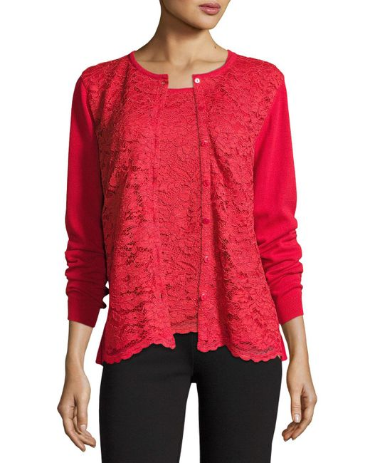 Joan Vass - Red Lace-inset Button-front Long-sleeve Cardigan - Lyst