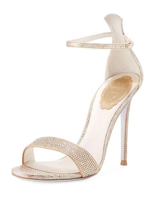 Rene Caovilla - Crystal-studded Metallic Snakeskin Ankle-wrap Sandal - Lyst