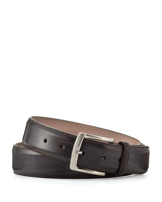 Neiman Marcus - Gray Square-buckle Calf Leather Belt for Men - Lyst