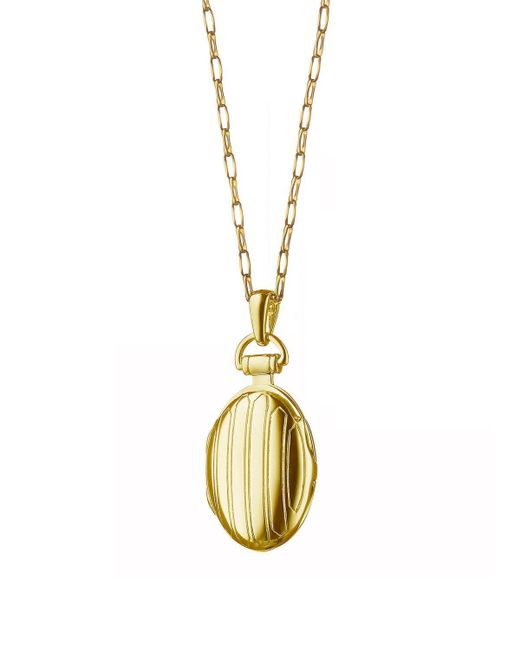 "Monica Rich Kosann - Metallic Gold Pinstripe Locket On 30"" - Lyst"