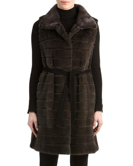 Gorski | Black Mink Fur Vest With Suede Belt | Lyst