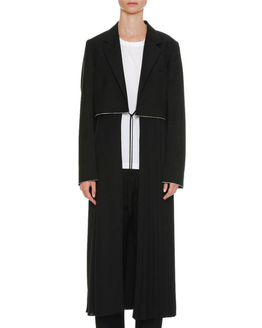 Jil Sander - Black Belted Long Wool-mohair Coat With Pleated Skirt - Lyst