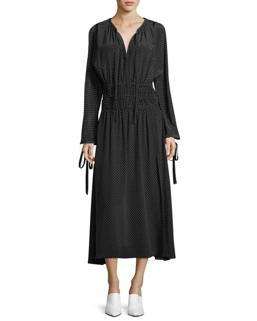 Robert Rodriguez - Black Split-sleeve Cold-shoulder Polka-dot Long Silk Dress - Lyst