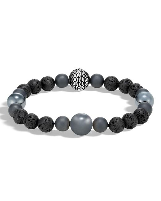 John Hardy - Metallic Men's Classic Chain Hematite & Volcanic Bead Bracelet for Men - Lyst