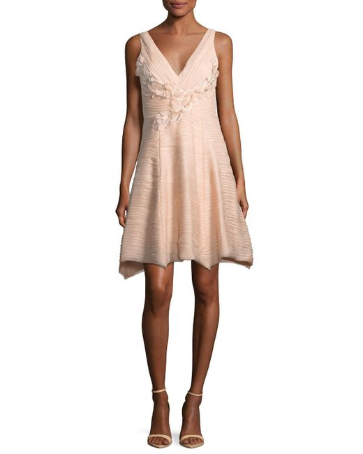 Notte by Marchesa - Red Sleeveless V-neck Crinkled Chiffon Cocktail Dress - Lyst