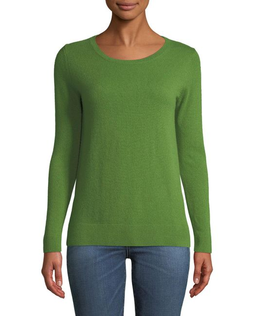 Neiman Marcus - Green Cashmere Modern Crewneck Sweater - Lyst