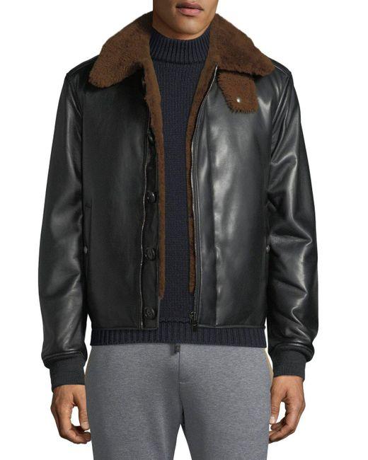 Ferragamo - Black Shealing-lined Lamb's Nappa Runway Bomber Jacket for Men - Lyst