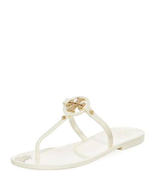 3038e52385e Tory Burch Mini Miller Flat Leather Thong Sandals in White - Save 1 ...