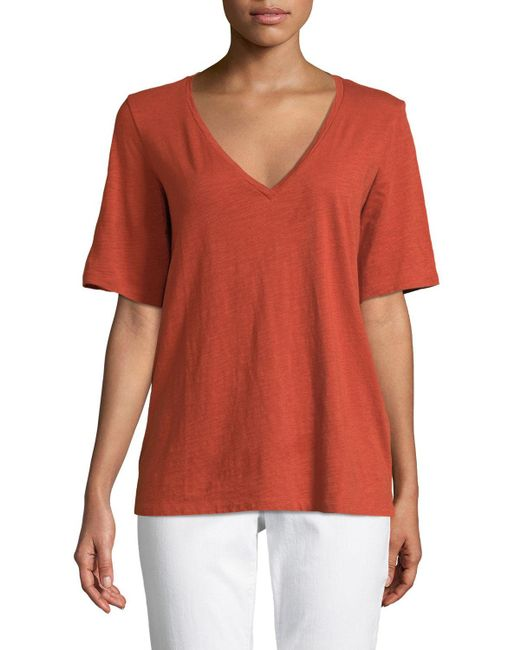 Eileen Fisher - Orange Short-sleeve V-neck Organic Cotton Slub Jersey Tee - Lyst