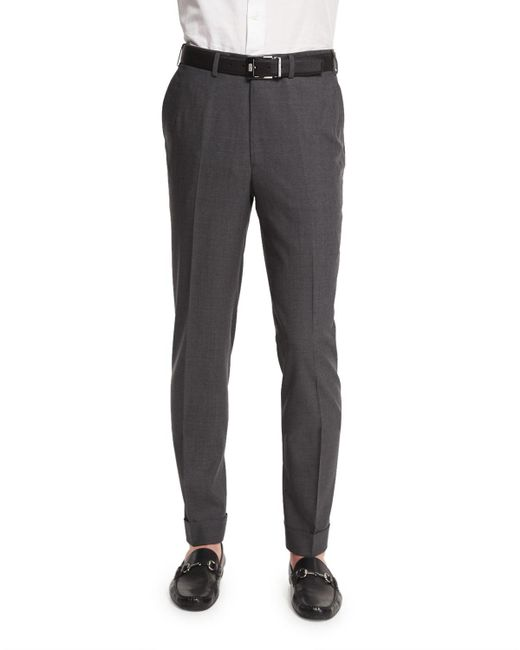 Brioni - Gray Micro-tic Flat-front Trousers for Men - Lyst