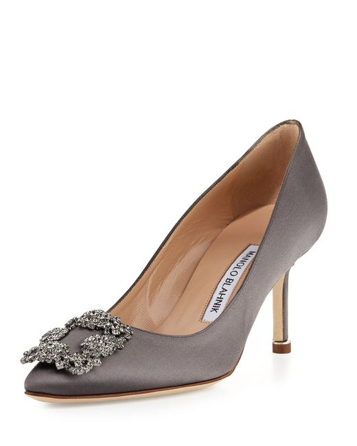 Manolo Blahnik - Gray Hangisi Crystal-buckle Satin 70mm Pump - Lyst