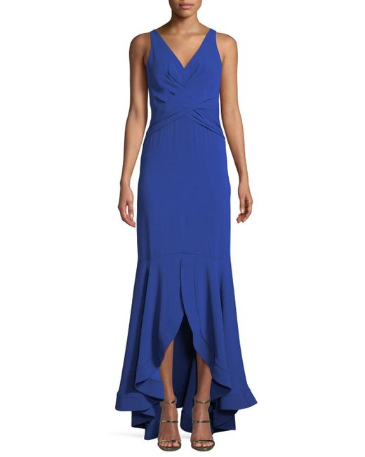 Shoshanna - Blue Montague V-neck Gown W/ High-low Hem - Lyst