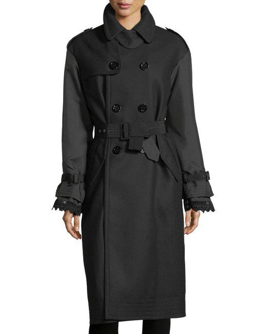 Moncler - Black Susanne Mixed-media Belted Trenchcoat - Lyst